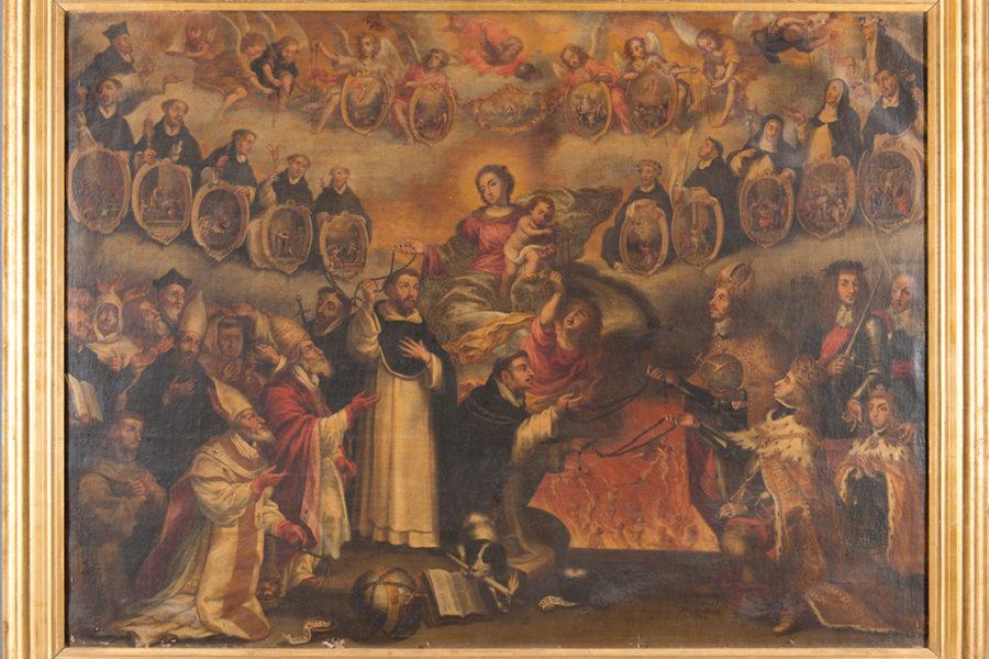 La Virgen del Rosario protegiendo a la orden dominica